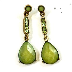 Green Rhinestone Dangle Earrings